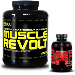 Muscle Revolt + BEEF Amino Zadarmo - Best Nutrition 2250 g + 250 tbl. Banán