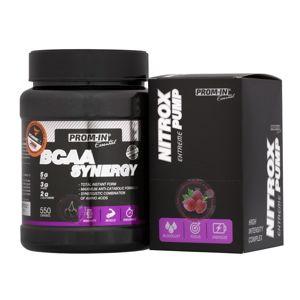 BCAA Synergy + Nitrox Pump Zadarmo - Prom-IN 550 g + 10x15 g Cherry